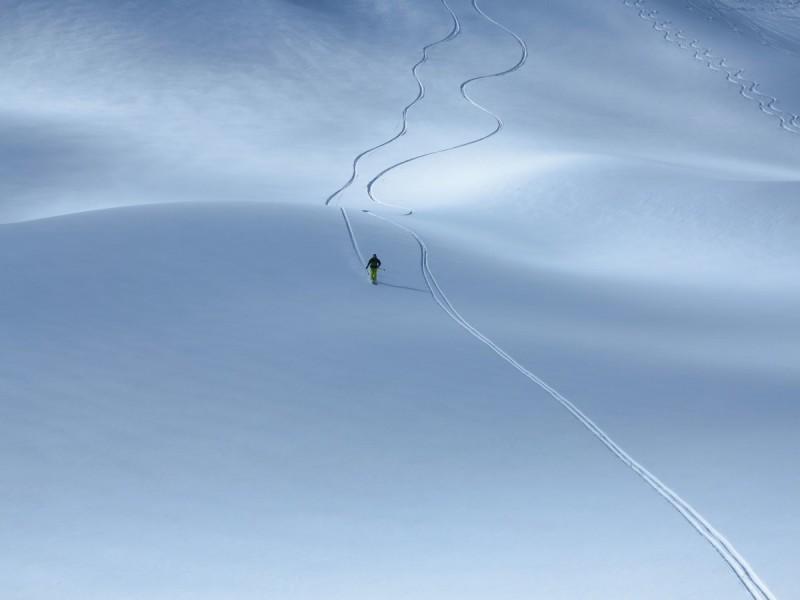 Zwei Skifahrer bei einem Fahrtechnik-Tiefschneekurs im Gelände.