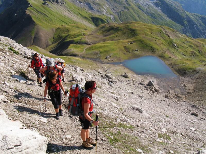 Die Wanderer laufen auf dem Heilbronner Höhenweg.
