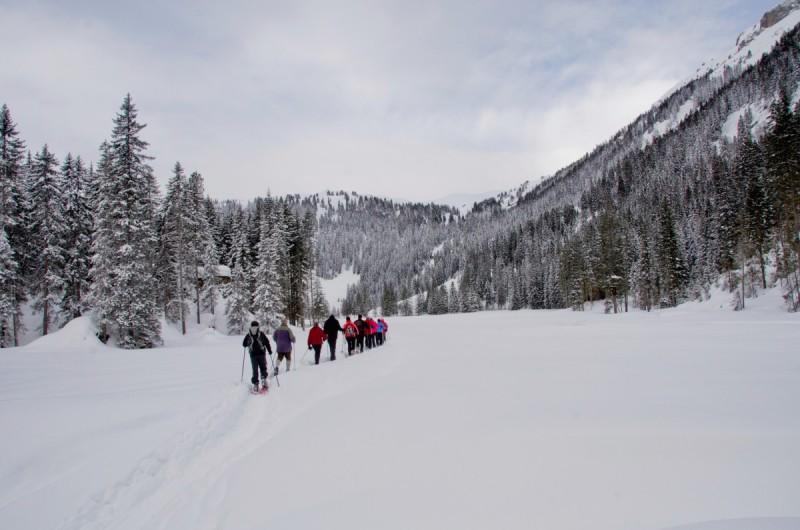 Schneeschuhwanderer sind an der kleinen gemütlichen Hütte angekommen.