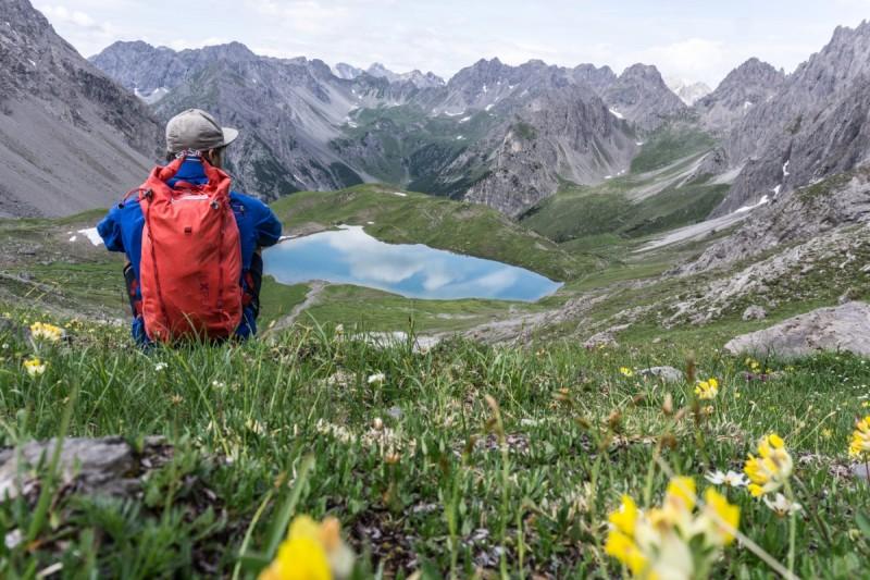 Enzian und Gebirgskräutter auf der Alpenüberquerung sichten.